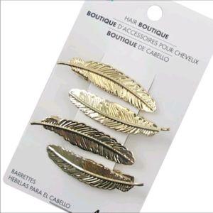 Gold Boho Leaf / Feather Hair Clip Set (×4…